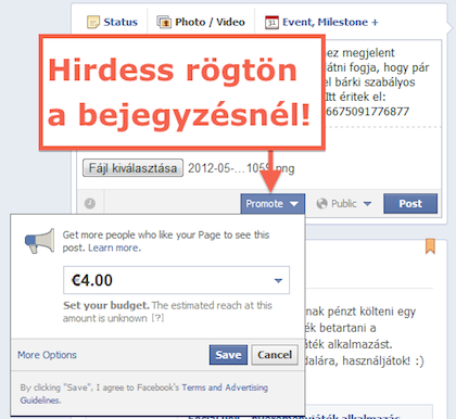Facebook hirdetés promoted post