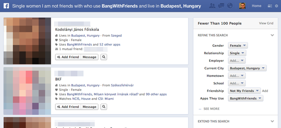 Bang With Friend és a Facebook kereső
