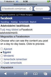 Frissülő adatvédelmi lehetőségek a mobil Facebookon