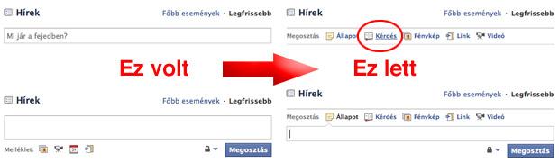 Facebook személyes profil oldal megváltozott beviteli felülete