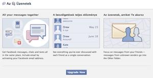 Facebook e-mail cím és üzenetkezelő rendszer frissítése