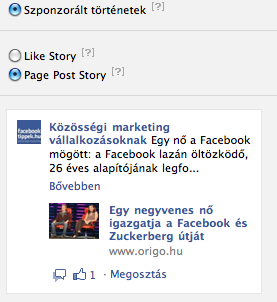 Szponzorált történetek változatai a Facebook hirdetésekben