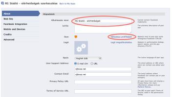 Faebook alkalmazés alap beállítások