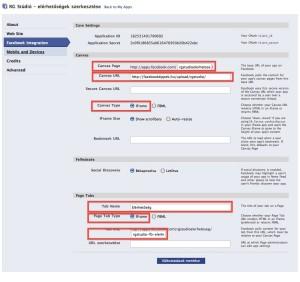 Facebook IFrame alkalmazás canvas url beállítása