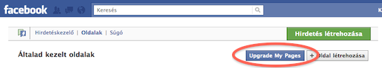 Facebook oldal frissítése az új verzióra