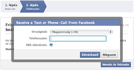 Telefonszám megadása Facebook fiók hitelesítésnél