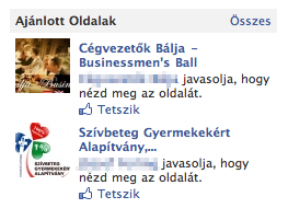 Facebook oldal ajánló