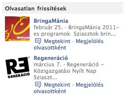 Facebook oldal frissítések