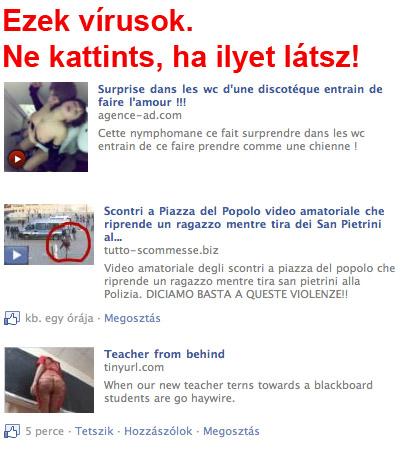 Facebook vírusok az üzenőfalon