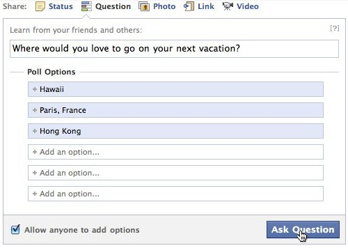 Facebook kérdések szerkesztése