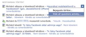 Aktivitás elrejtése a Facebook üzenőfalon
