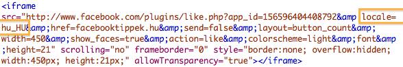 Like gomb Iframe kód esetén