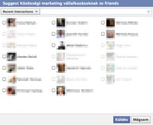 Facebook oldal ajánlása az ismerősöknek