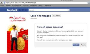 Chio finomságok Facebook oldala