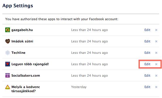 Facebook alkalmazások, amik hozzáférnek a profilodhoz