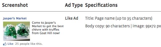 A Facebook hirdetés méretek változása táblázatos formában