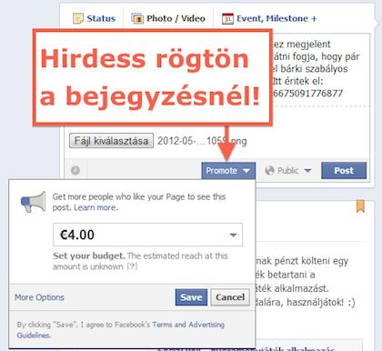 Facebook hirdetés promoted post