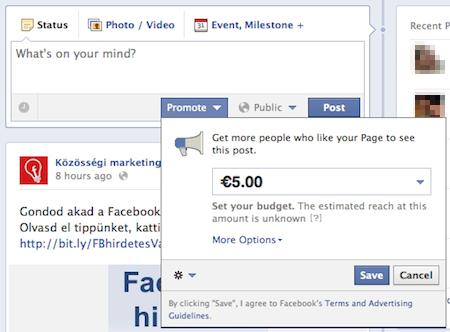 Facebook promótált bejegyzés hirdetés létrehozás