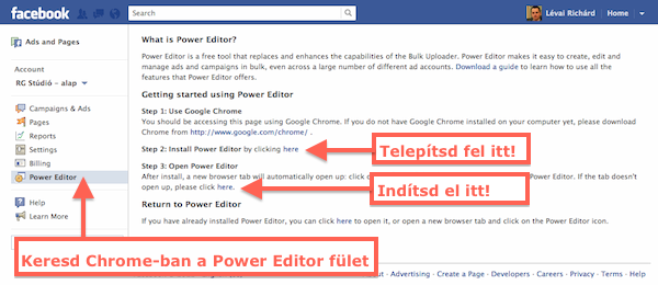 Facebook power Editor telepítés Google Chrome-ban