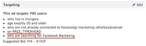 Facebook kereső hirdetés összefoglalója a hirdetés kezelő felületen