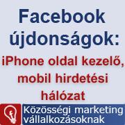 Facebook iPhone page manager frissítés és mobil hirdetési hálózat teszt