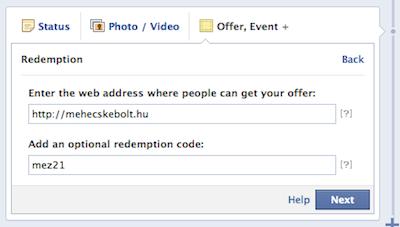 Facebook offer: add meg a webcímet és a kódot