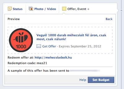 A kész Facebook ajánlat  előnézete