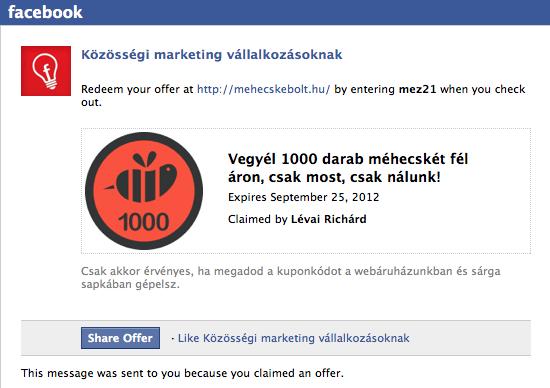 A Facebook ajánlat email mintája
