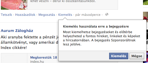 Facebook profil bejegyzés kiemelés (promote) figyelmeztetés