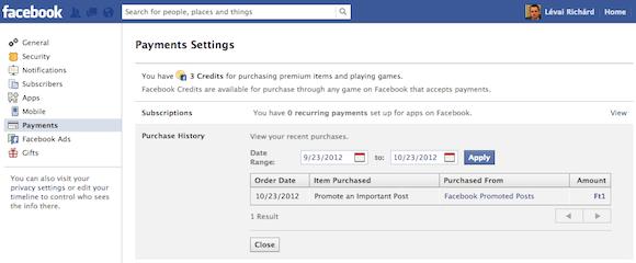 Facebook apróhirdetés fizetési összesítő