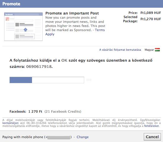 Mobil fizetés megerősítés Facebook apróhirdetésnél