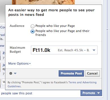 Promote poszt Facebook hirdetés