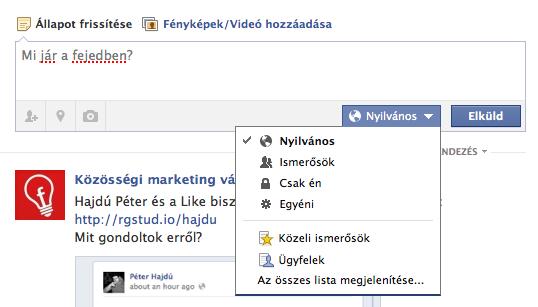Facebook megosztások beállítása