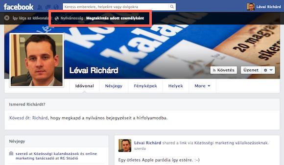 Alapból azt mutatja meg az ellenőrző, hogy mi nyilvános, mit látnak rólad az idegenek a Facebookon.