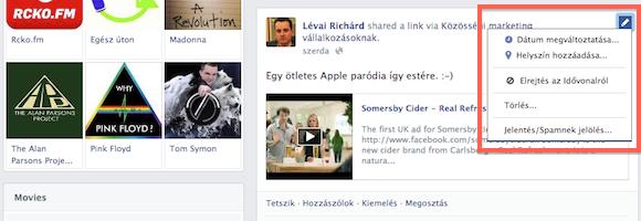 A Facebook Timeline elemeinek láthatóságát egyesével is beállíthatod.