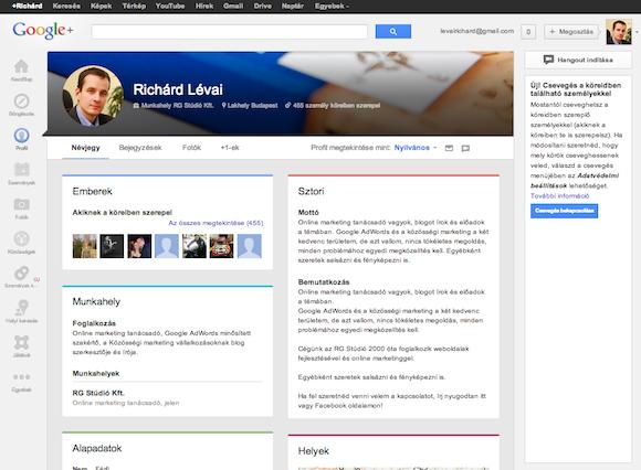 Google Plus profil megjelenése korábban.