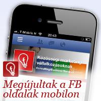 Új megjelenés Facebook oldalaknak mobilon