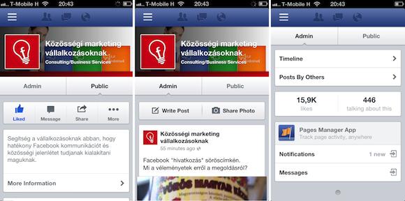 Facebook oldal mobil megjelenés