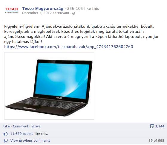 2. Tesco Magyarország: összes interakció: 8.000+, aktivitási arány: 4,21%