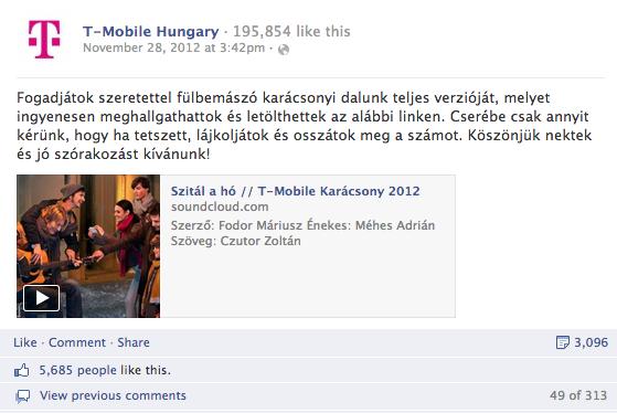 3. T-mobile Hungary: összes interakció: 5106, aktivitási arány: 3.98%