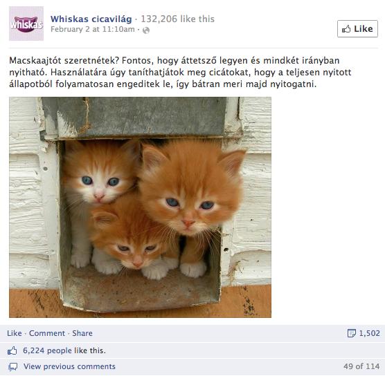 3. Whiskas cicavilág - összes interakció: 7.603, aktivitási arány: 5,98%