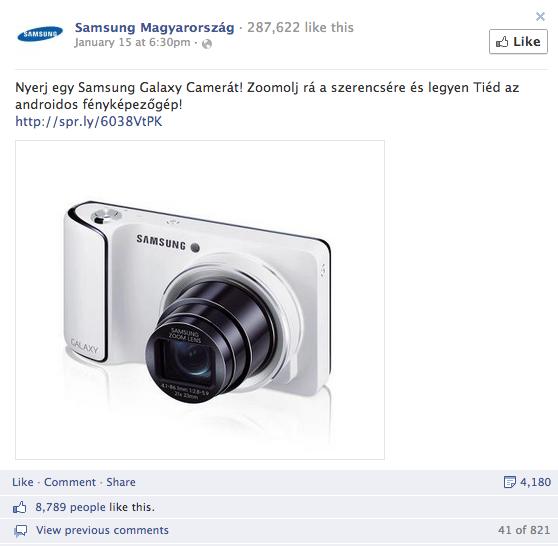 1. Samsung Magyarország - összes interakció: 13.000+, aktivitási arány: 11.8%