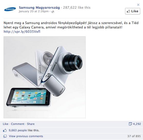 2. Samsung Magyarország - összes interakció: 12.000+, aktivitási arány: 9.47%
