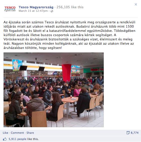 2. Tesco Magyarország - összes interakció: 15.000+, aktivitási arány: 6,55%