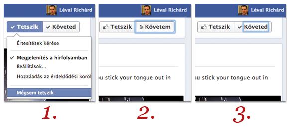 Facebook oldal követés beállítása