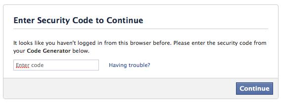 Ha új eszközről jelentkezel be, először kódot kér a Facebook.