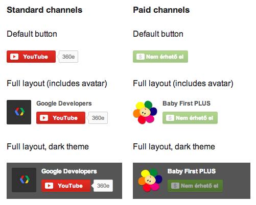 A YouTube csatorna feliratkozás gombját szépen testre lehet szabni.
