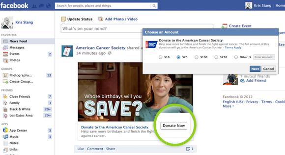 A Donate gomb a hírfolyamban is megjelenik. Rákattintva rögtön ki lehet választani az adomány nagysága.