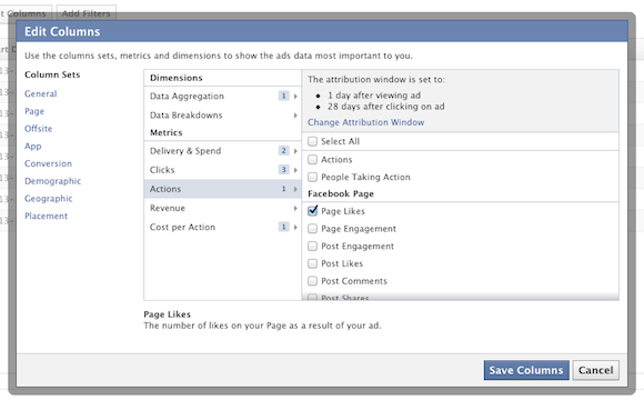 A Facebook jelentéseket nagyon könnyen tudod testreszabni. Az Actions menüpontban például kiválaszthatod, hogy csak a like-okat mutassa.