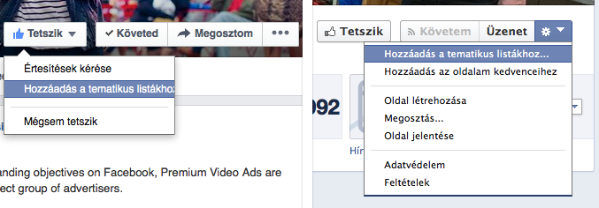 Így kezdd a saját tematikus lista létrehozást! A bal oldalon az új Facebook oldalak felületét láthatod, a jobb oldalon a régi Facebook oldalakat.